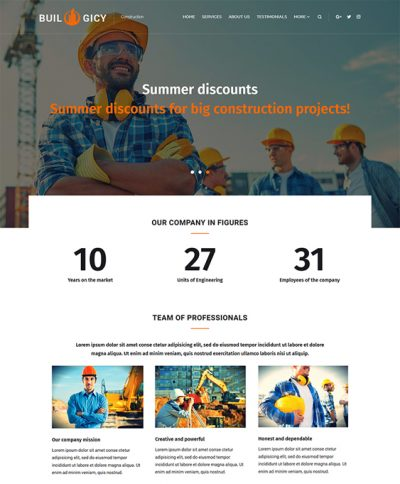 best construction company wordpress themes feature