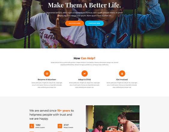 childrens charity wordpress themes feature