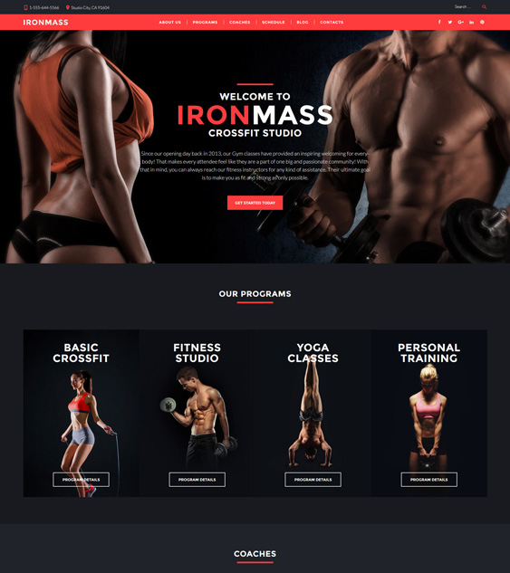 best wordpress themes crossfit gyms studios feature