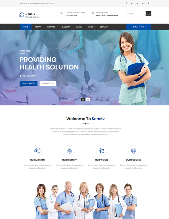 best bootstrap website templates medical feature