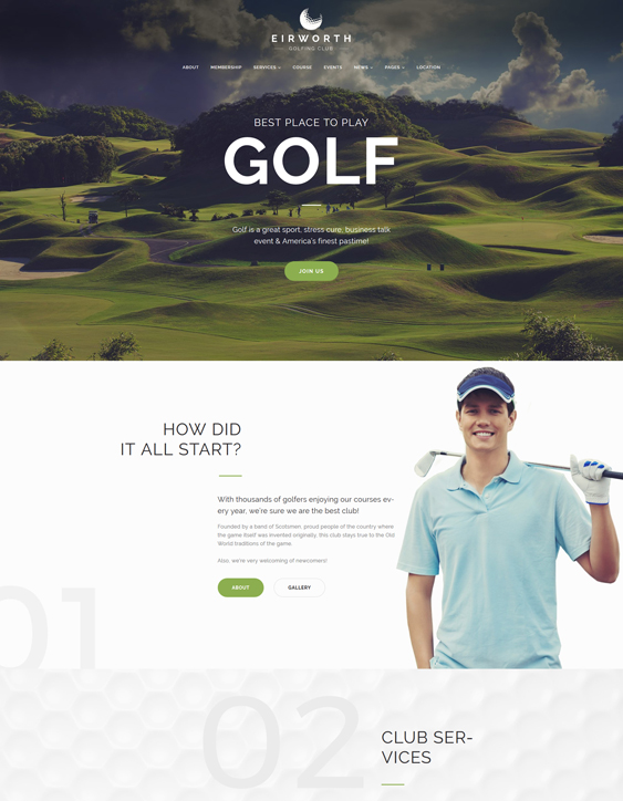 best golf wordpress themes feature