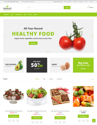 best opencart themes food stores feature