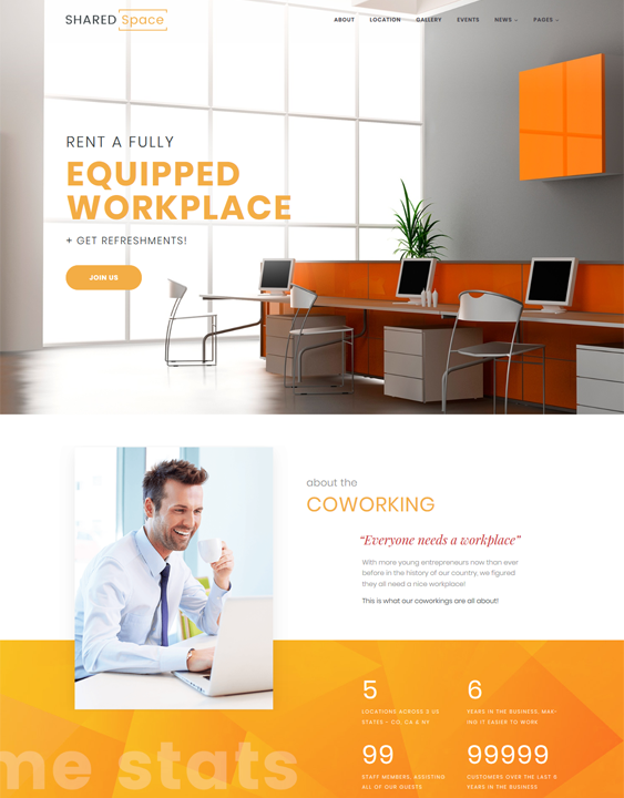 best coworking wordpress themes for shared office spaces feature