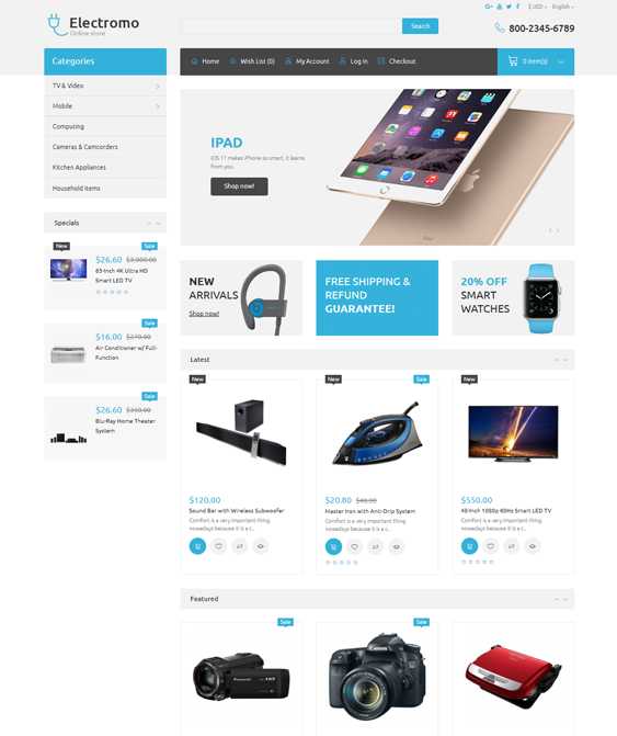 opencart themes for selling electronics