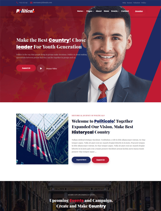 best political wordpress themes politics causes politicians feature
