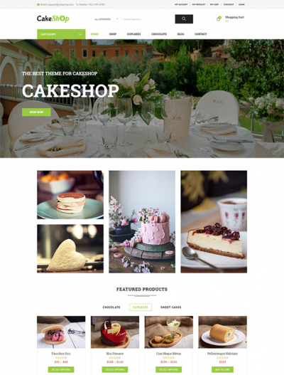 best bakery cake shop woocommerce themes feature
