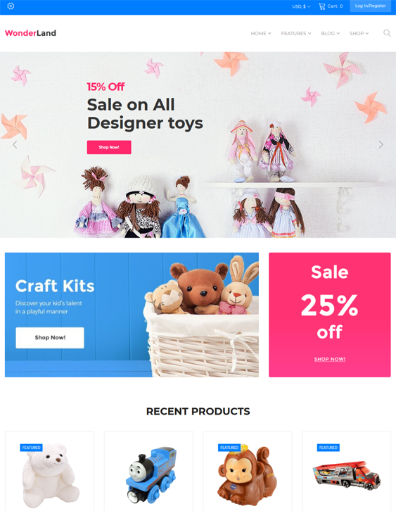 best woocommerce themes for kids babies children feature