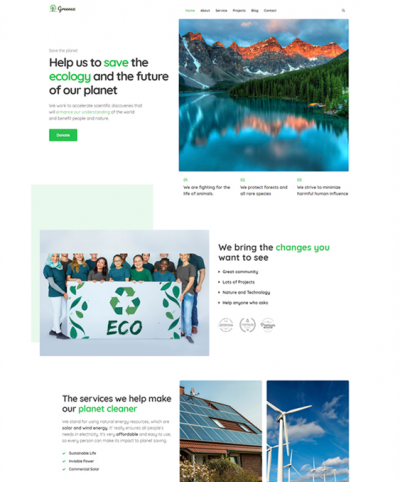 best wordpress themes green ecofriendly environmental websites feature