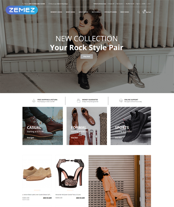 opencart themes for footwear shoe stores