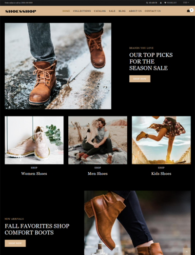 best shopify themes for selling shoes footwear feature