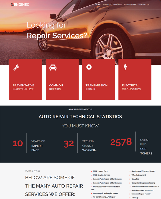 wordpress themes car repair centers auto mechanics