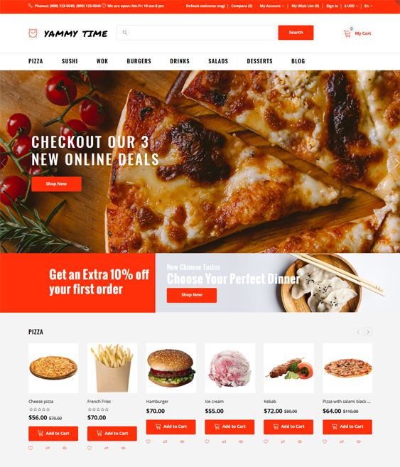 best opencart restaurant themes feature
