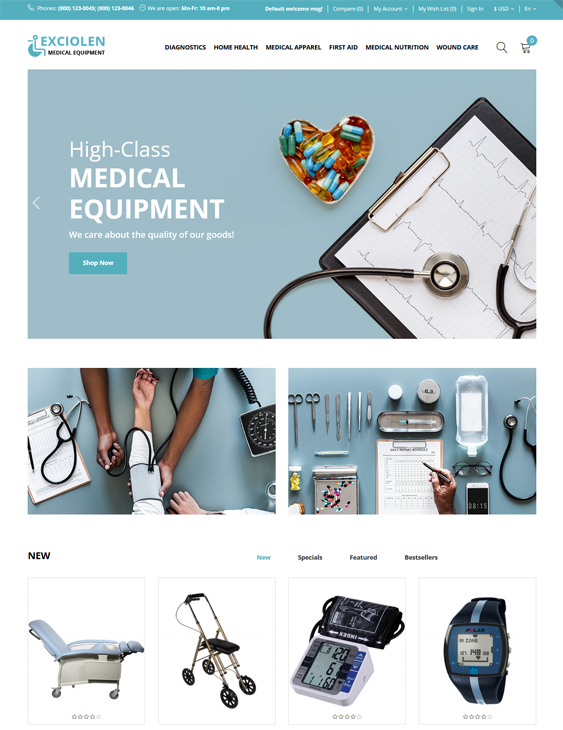 opencart themes for health medical stores