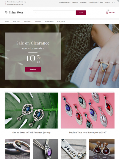 best opencart themes for watch jewelry stores feature