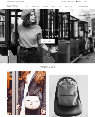 best shopify themes for selling handbags purses feature