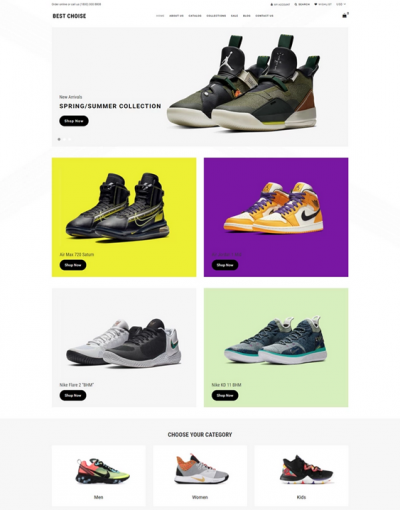 best shopify themes for selling footwear shoes feature