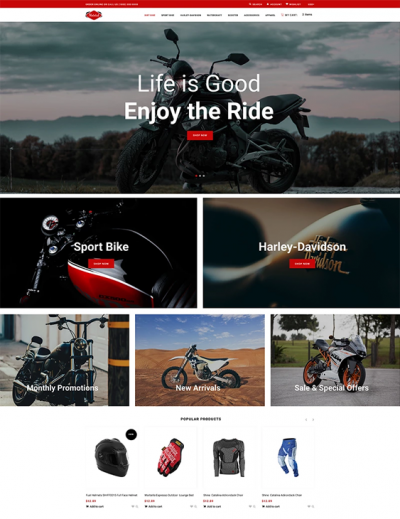 best shopify themes for selling motorcycles accessories feature