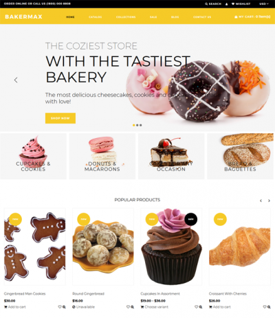 best bakery shopify themes for selling cakes cookies bread feature