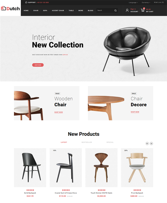 opencart themes for selling furniture online