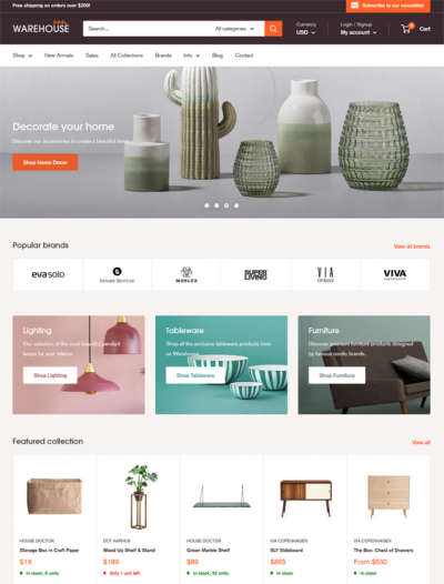 best interior design home decor shopify themes feature