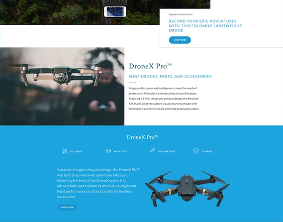 drone shop shopify themes feature