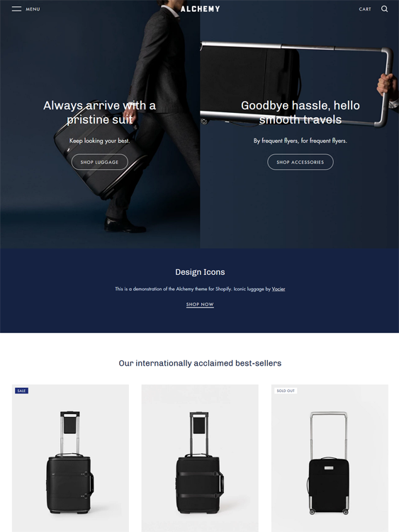 travel shopify themes for selling luggage and suitcases