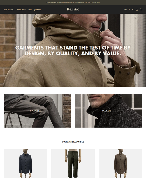 fashion Shopify theme for men and women's clothing