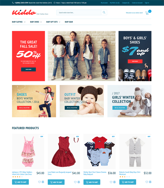 magento themes for kids children babies