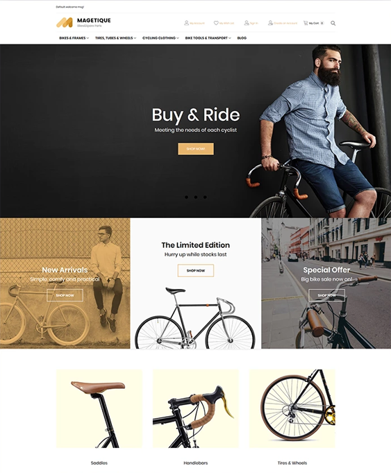 magento themes for bicycle and motor bike stores
