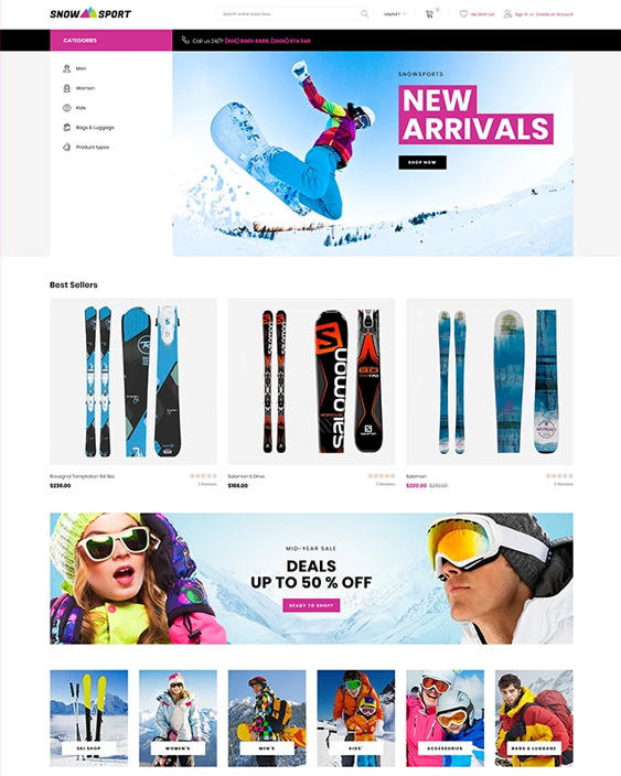 magento themes for sports stores