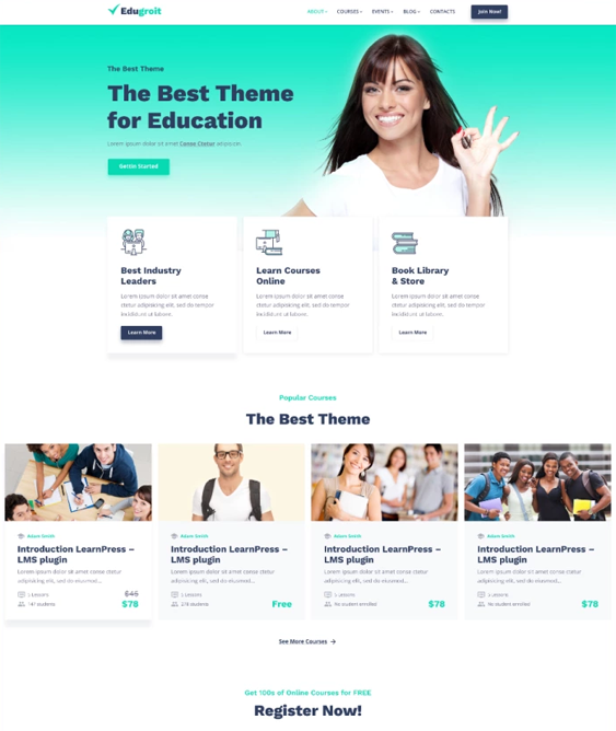 best education wordpress themes for schools classes feature
