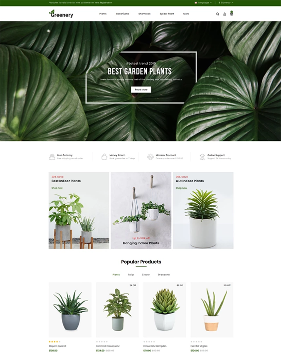 opencart cart themes for plant stores