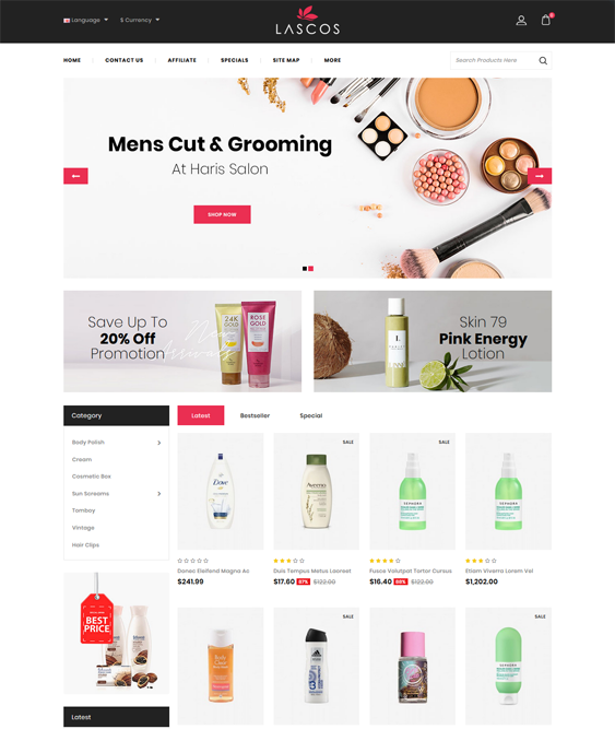 opencart themes for selling beauty products makeup cosmetics