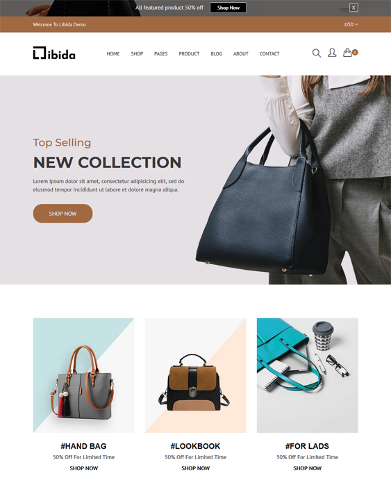 shopify themes for handbags suitcase purses wallets feature