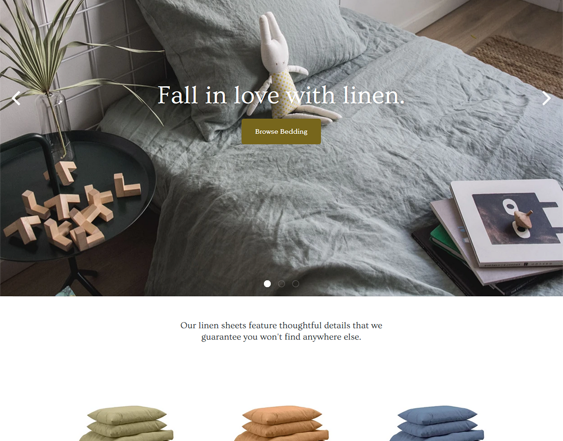 shopify themes blankets bedding linen feature