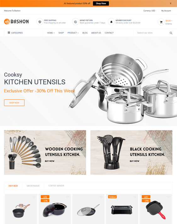 kitchen supply shopify themes cookware bakeware dinnerware feature