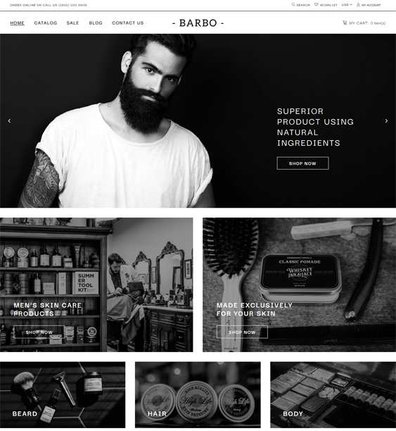 shopify themes for mens grooming products and supplies
