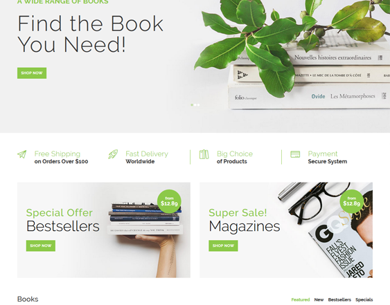online book store opencart templates feature