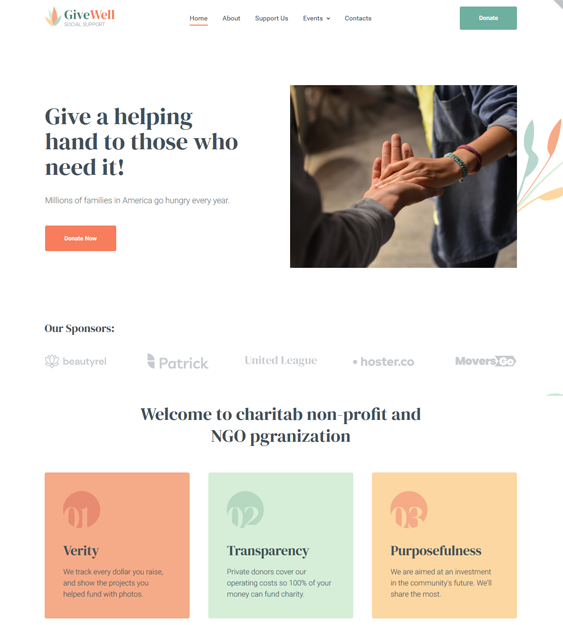 charity nonprofit wordpress themes feature