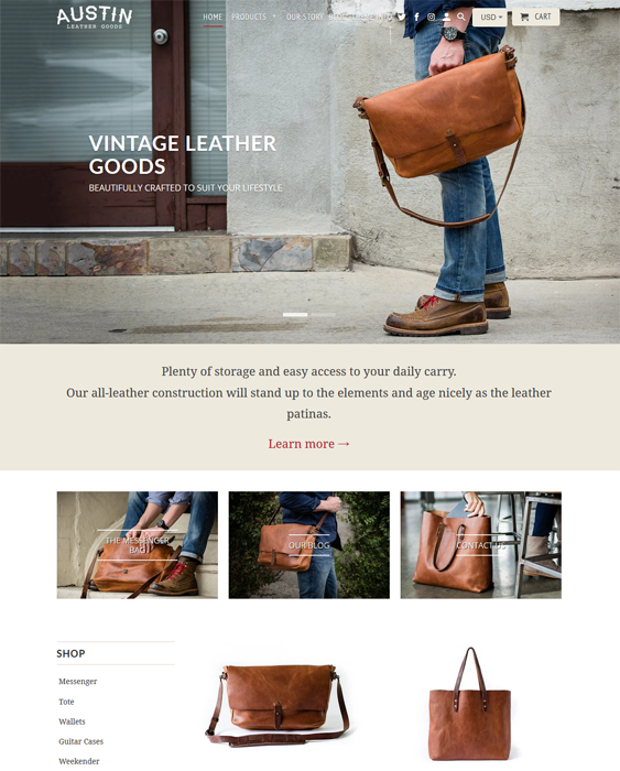 Shopify Themes For Selling Leather Goods feature