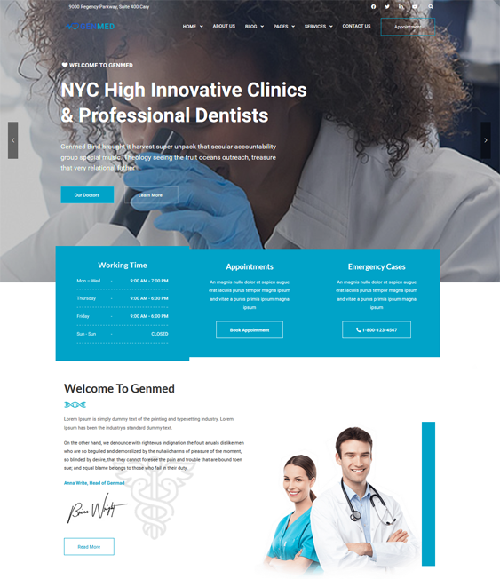 wordpress themes for dental clinics dentists feature
