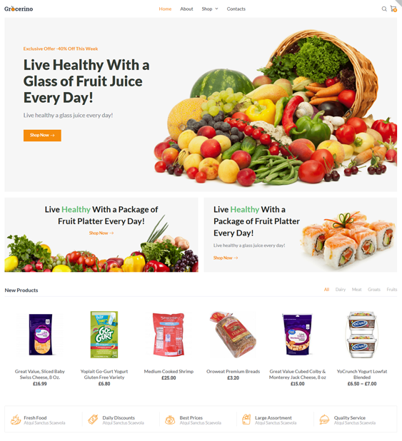 food and grocery store woocommerce themes feature