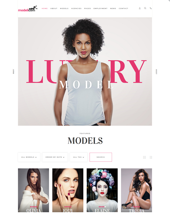 wordpress themes for models and modeling agencies feature