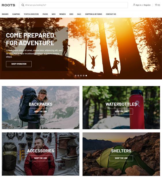 Bigcommerce Themes For Selling Camping Equipment And Outdoor Goods feature