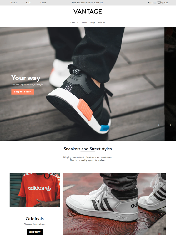 shopify themes for sneaker stores feature