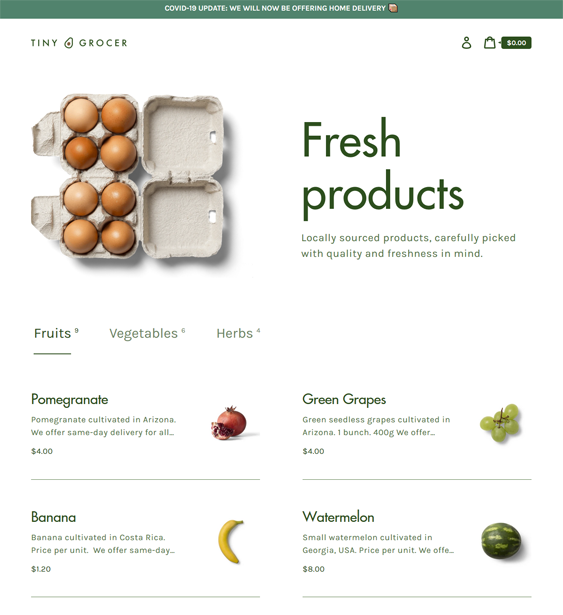 shopify themes for selling food online feature