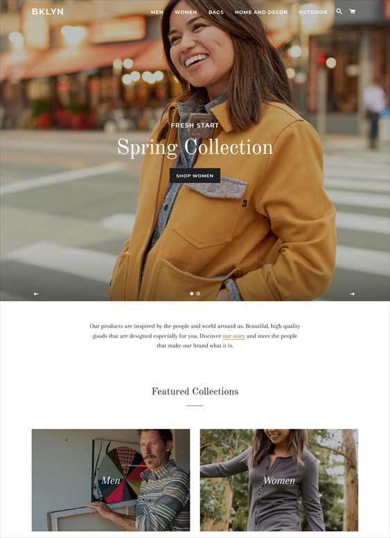 free shopify themes for selling clothing accessories feature