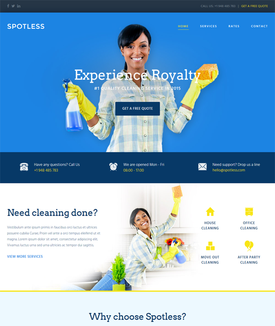 WordPress Themes For Cleaning Companies, Cleaners, And Maids feature