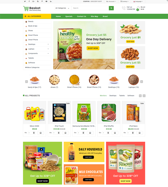 OpenCart Themes For Food And Grocery Stores feature