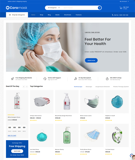 Medical WooCommerce Themes feature